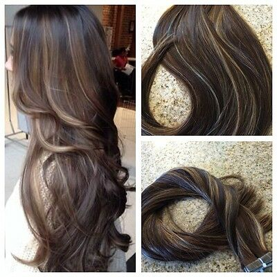 5 Star Remy Tape In Human Hair Extensions Balayage Highlights Custom Seamless