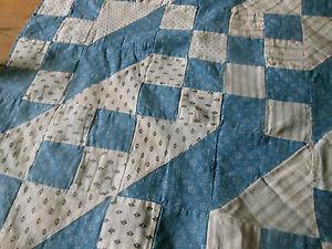 Antique Primitive Faded Blue Calico Fabric Quilt Top Piece