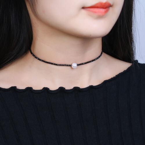 Natural Black Spinel /&Freshwater Pearl 925 silver Choker necklace Bracelet Set