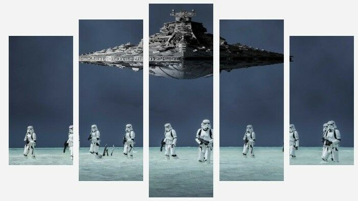Star Wars - Storm Trooper Millennium Falcon Art 5 Split Panel Canvas Pictures