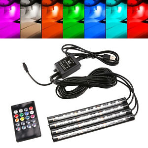 9-LED-RGB-Car-Interior-Atmosphere-USB-Lights-Strip-Colors-Decor-Lamps-Footwell