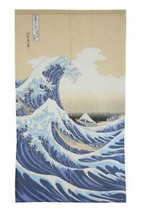 Japanese-Noren-Curtain-UKIYOE-SHIRANAMI-85-x-150cm-MADE-IN-JAPAN