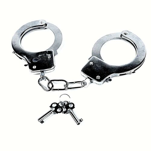 1 Hand Cuffs Cop Die-Cast  Metal  with 2 Keys MAGIC ESCAPE Safety Release