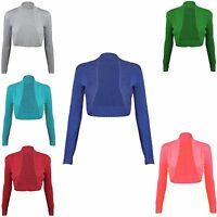 New Ladies Womens Long Sleeve Bolero Ribbed Shrug Knit Cardigan Tops Stretch Top