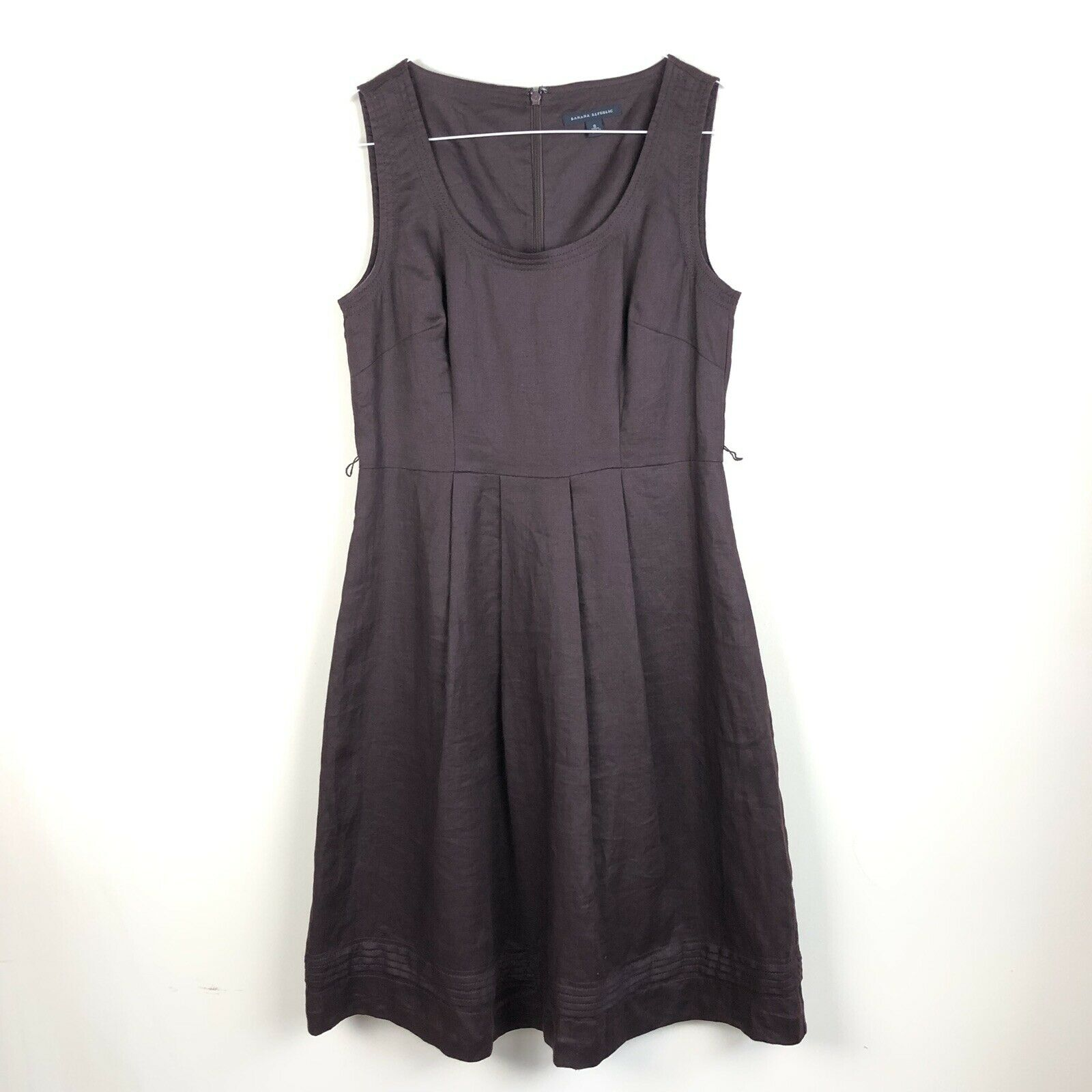 Banana Republic 6 Linen Dress Fit & Flare Brown Lined Career