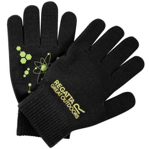 Regatta Kids Glow In The Dark Knit Gloves Black Childrens Reflective Atoms Grip