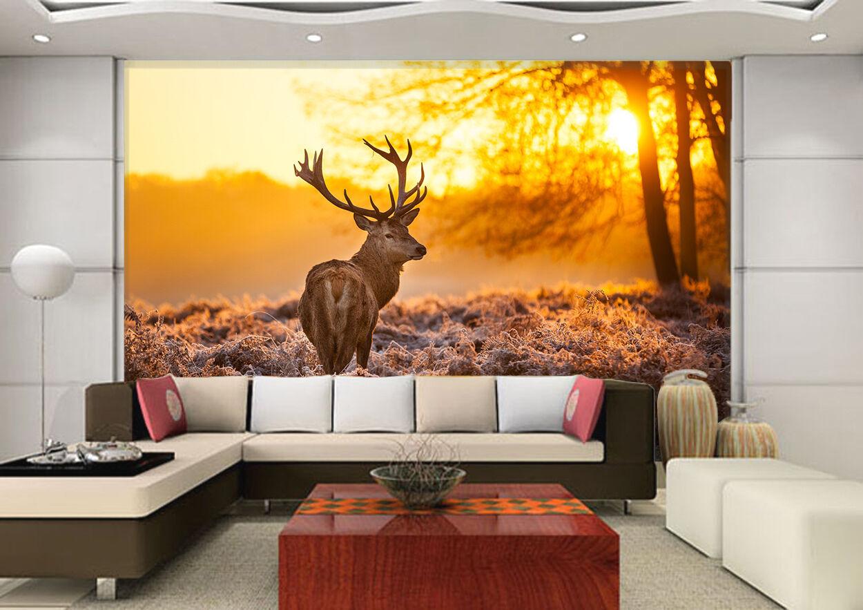 3D Sunset Weeds Animal 1334 Wallpaper Decal Dercor Home Kids Nursery Mural Home