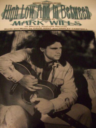 Mark Wills High Low /& In Between 1996 Photo Sheet Music