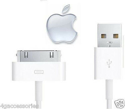 100% GENUINE Apple iPhone 4 4S 3G 3GS IPod & iPad 1/2 3 CHARGER USB LEAD CABLE