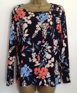 Ex M/&S Classic NAVY Floral Print Twist Neck L //Sleeve T-Shirt BNWOT Size 10 to16