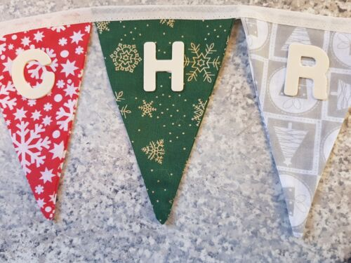 VINTAGE STYLE MIX UP PERSONALISED /'MERRY CHRISTMAS/' BUNTING £13 FULL LENGTH