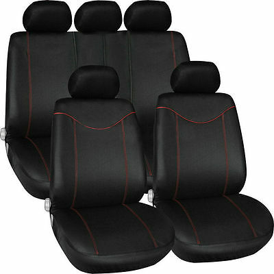 11 pcs Full Seat Cover Set Car Seat Cover Low Front Back Set Black + Red Edge SM