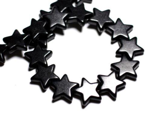 Fil 39cm 22pc env Perles de Pierre Turquoise Synthèse Reconstituée Étoiles 20m