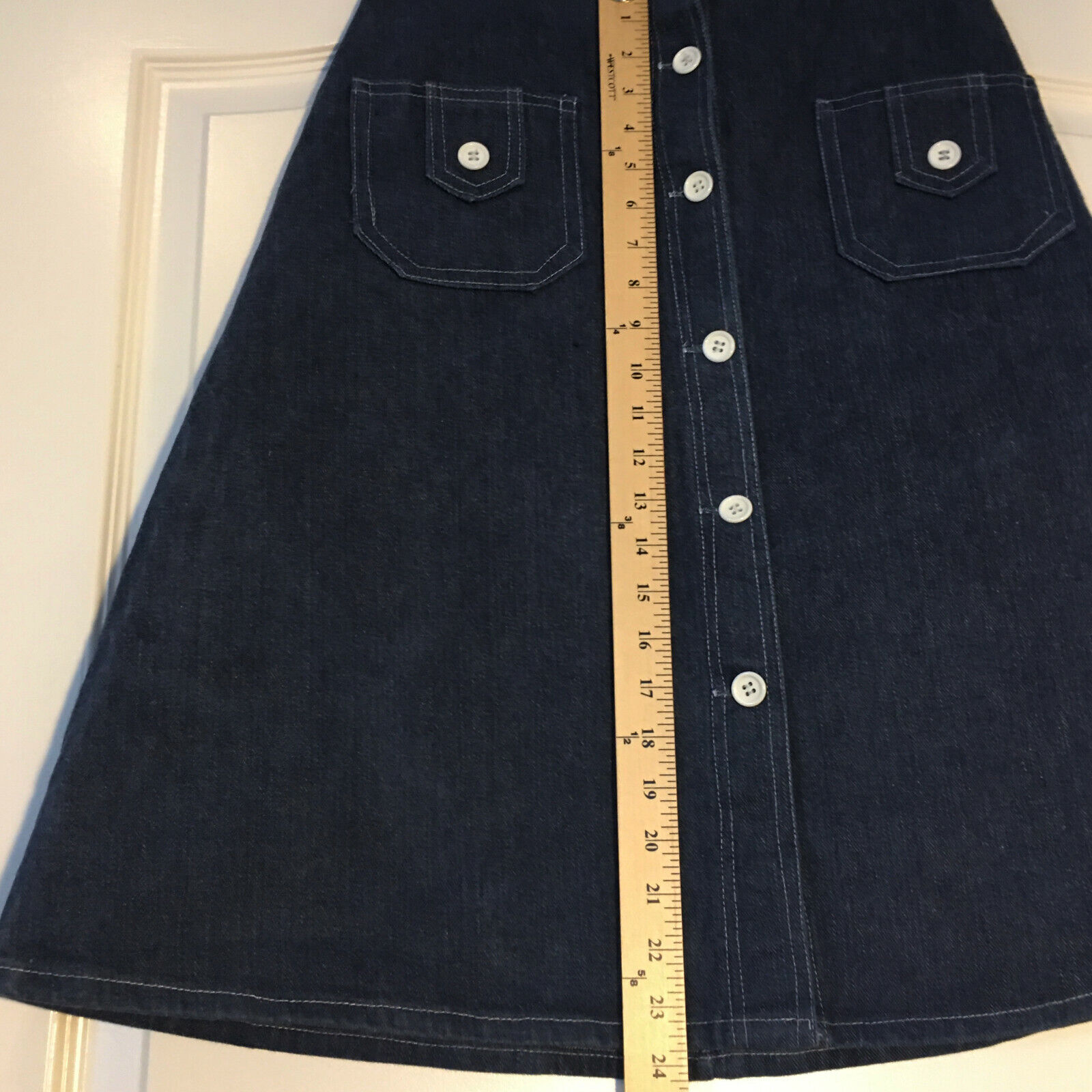 Peekaboo A-Line Vintage Inspired Denim Button Fro… - image 5
