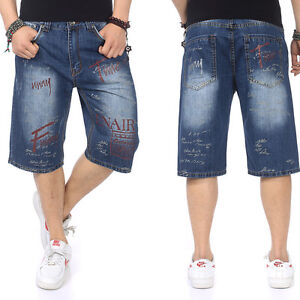 Plus Size Mens Jeans Shorts Hip Hop Capri Pants Loose ...