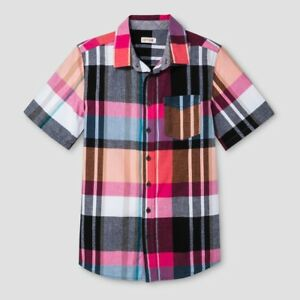 6f073786 NEW Boys Short Sleeve Button Up Plaid Shirt by Cat & Jack - Size L ...