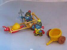 Vintage Smurf snail cart w 2 Smurfs - King / Emperor, Roman Guard / Sentry