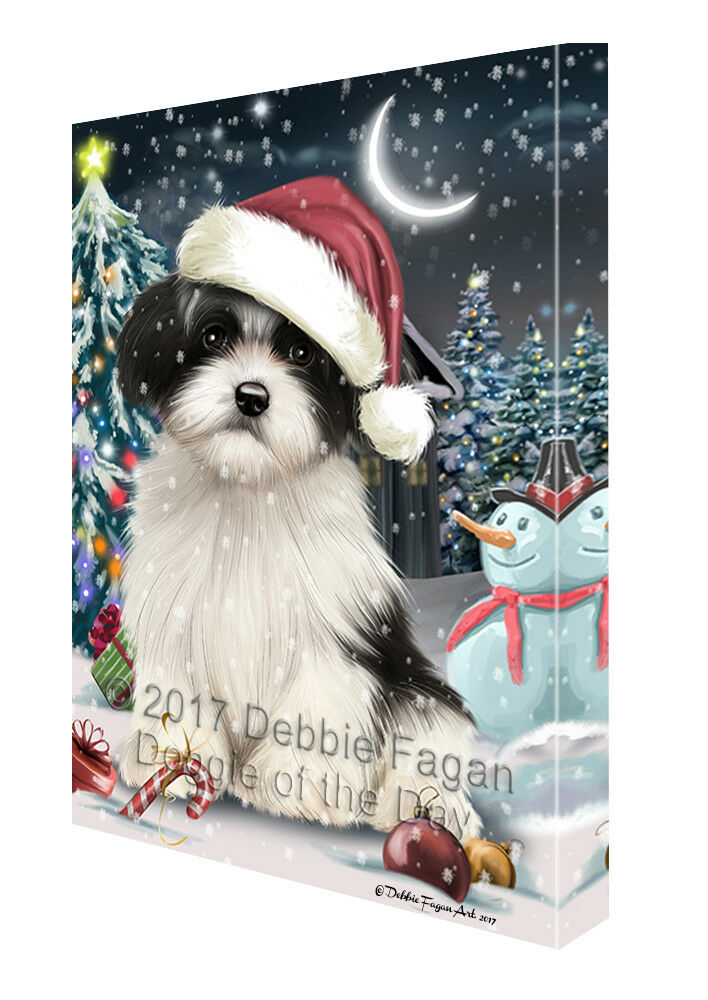 Holly Jolly Christmas Havanese Hund in Holiday Canvas Wand Kunst T100