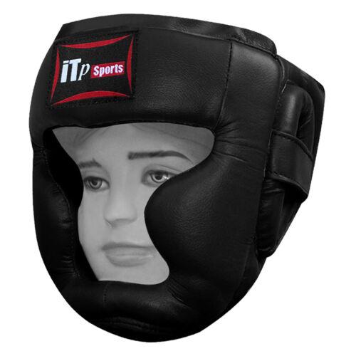 Kids Leather Boxing Head Guard Martial Arts Head Gear Junior Children