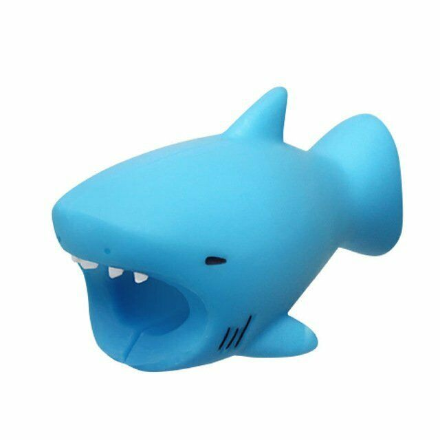 Blue Shark Cute Animal  USB Charger Cable Cord Protector Bite For IOS Android AU