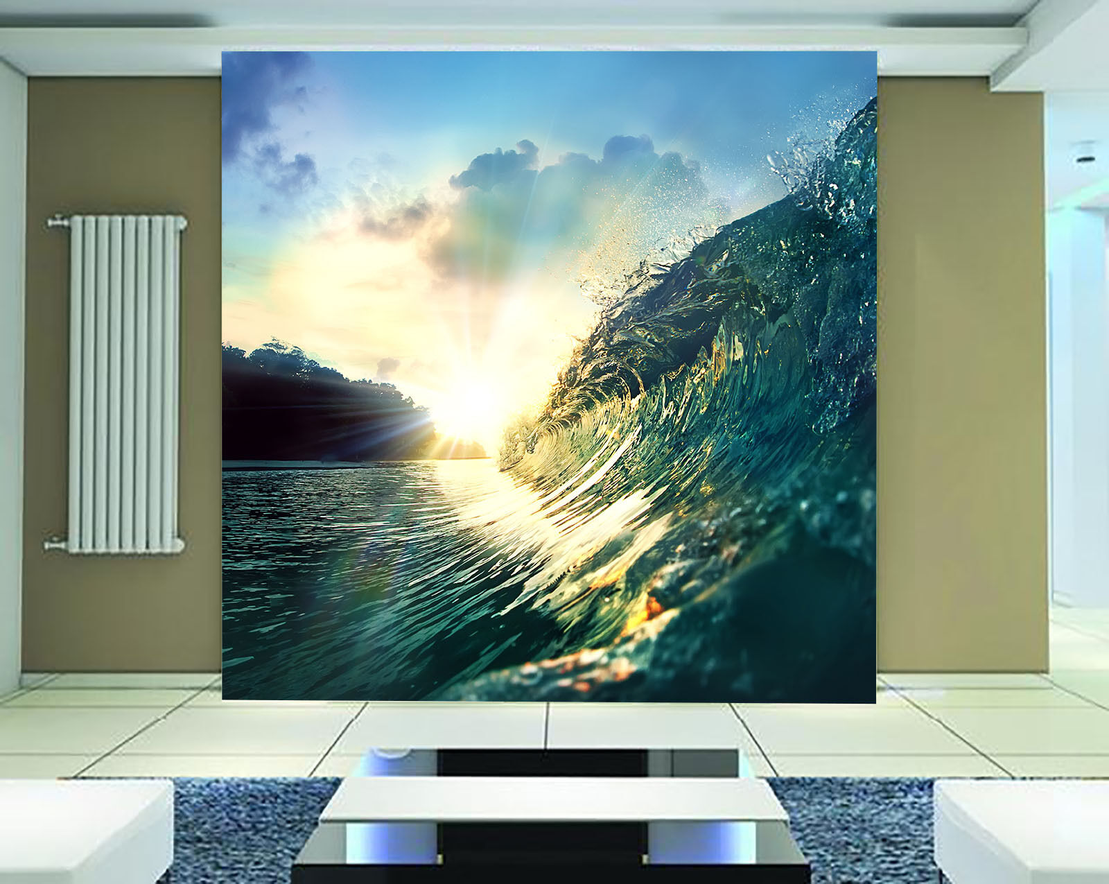 3D Sunset Glow Waves 08 Wall Paper Wall Print Decal Wall Deco Wall Indoor Murals