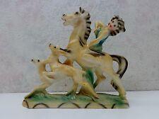 Vintage Italian Art Pottery R. Santini Sculpture Woman Archer Bow Horse Deer VgC