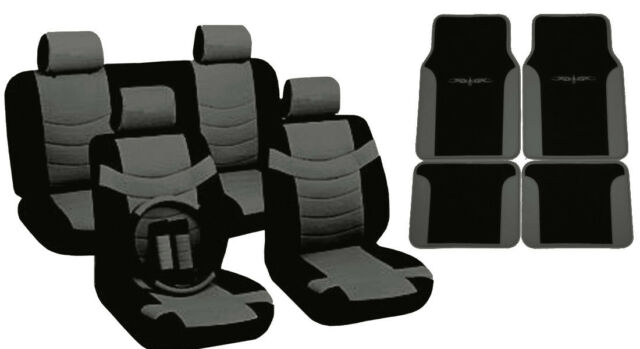 Two Tone PU Synth Leather Seat Covers Steering Wheel Black/Gray Trim Mats CS5