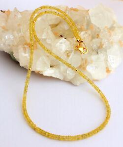 Echte-Gelbe-Saphir-Kette-edelsteinkette-Facettierte-Rondell-925-Silber-Collier