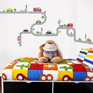 Details zu Wandsticker Wandpuzzle Wandtattoo Autobahn Straßen Autos  Kinderzimmer Jungen