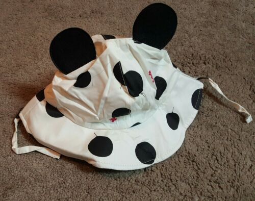 Toddler Sun Hat with Cute ears Polka dot Black//white
