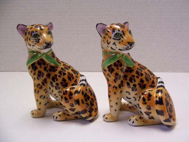 Lynn Chase Designs Jaguar Jungle Salt Pepper Shakers W Stoppers Excellent