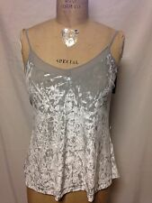 Guess Crushed Velvet Sleeveless Tank with Sheer Trim Neck S Silver Radiance  NWT