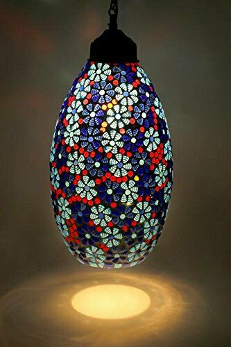 Beautiful Beads And Crystal Decorated Glass Mosaic Hanging Light Pendant Lamp