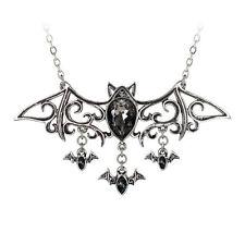 ALCHEMY GOTHIC NECKLACE VIENNESE NIGHTS BATS VAMPIRE PEWTER LADIES BLACK NEW