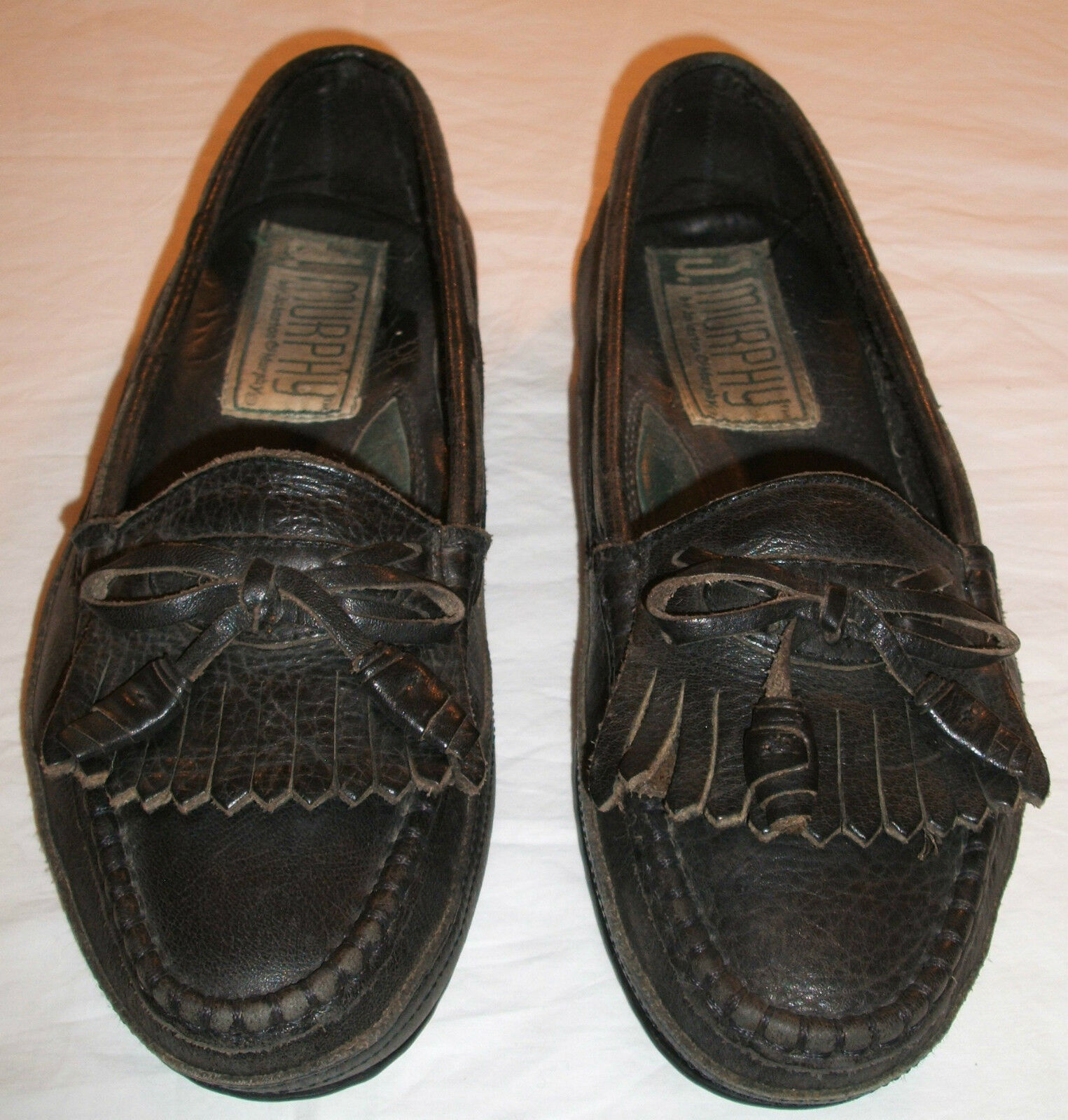 Men's Johnston and Murphy Black Tassel Moc Loafer - Size 6.5 Medium