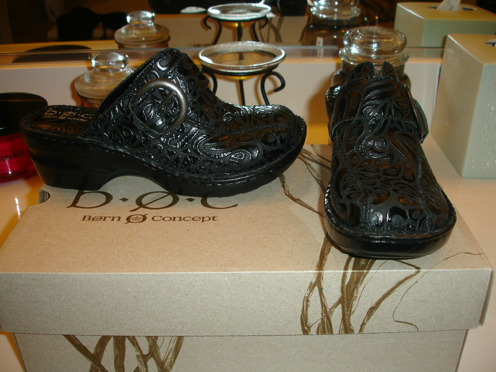 B.O.C. Katina Mule Sabots en Cuir noir chaussure confort  80 Qualité Styllish Nice 6