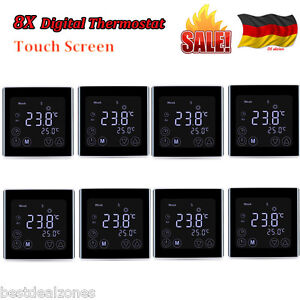 8x digitaler lcd thermostat raumthermostat fu bodenheizung. Black Bedroom Furniture Sets. Home Design Ideas