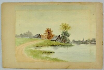 """Aromatic Character And Agreeable Taste Robert Mckinney """"village Landscape With Lake"""" Watercolor Listed A bi#mk/181019"""