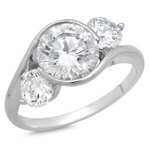 3.4ct Round Cut 3Stone Engagement Wedding Bridal Anniversary Ring 14k White Gold