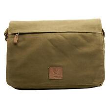 Underwood & Tanner - Olive Green Canvas Messenger Bag with Leather Trim