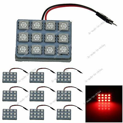 10pcs Red 12 5050 SMD LED Festoon Dome/Door/Box Light Panel Interior Bulb J003