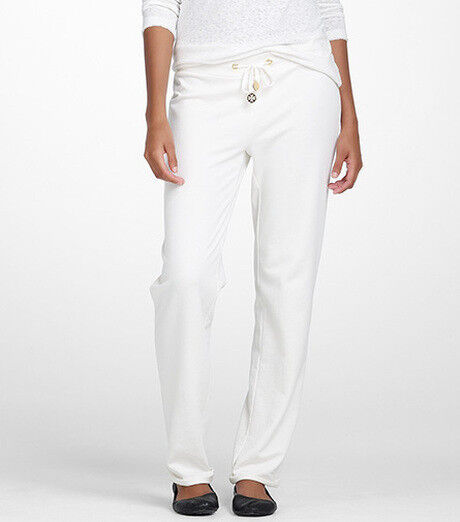 NWT Tory Burch Rauma Cotton Lounge Pants Ivory gold Logo  150 - L