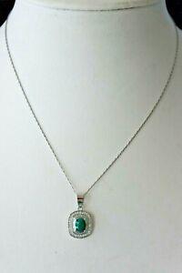Beautiful Silver Emerald Pendant In Gift Box