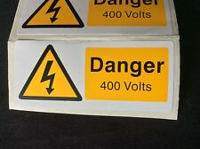Danger 400 Volt Electrical Warning Labels - pack of 10  - self adhesive