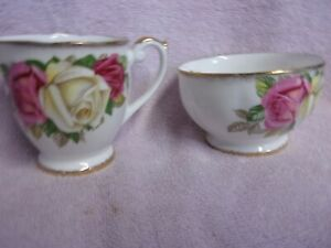 LADY-SYLVIA-QUEEN-ANNE-FINE-BONE-CHINA-SUGAR-AND-CREAMER-NO-CRACKS-OR-CHIPS