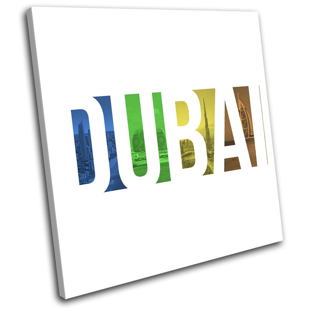 Dubai Coloured arte Typography City SINGLE LONA pared arte Coloured Foto impresion 401ea9