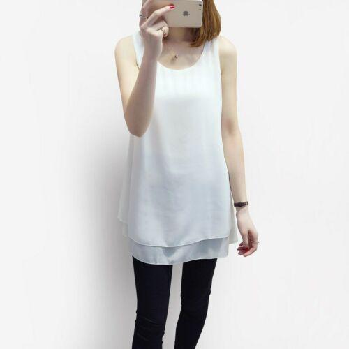 Summer Womens Plus Size Sleeveless Blouse Loose Fit Midi Long Chiffon Tops S-5XL