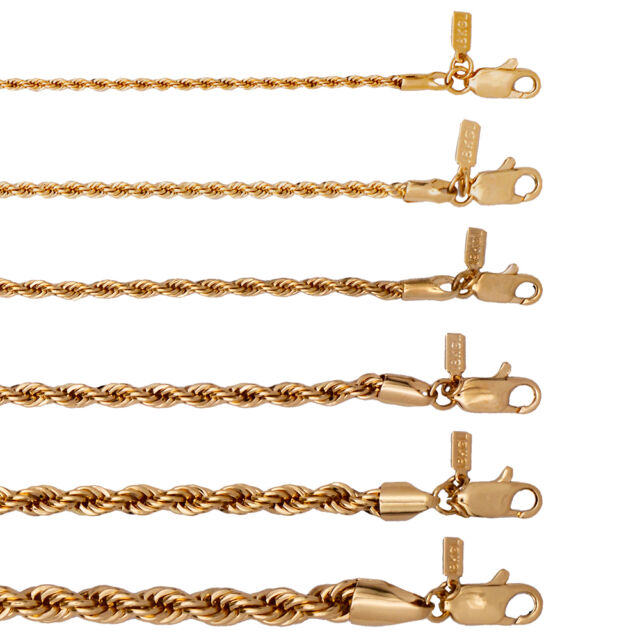 18K Gold Plated Rope Chain Necklace  LIFETIME WARRANTY  2 MM Through 6 MM Widths