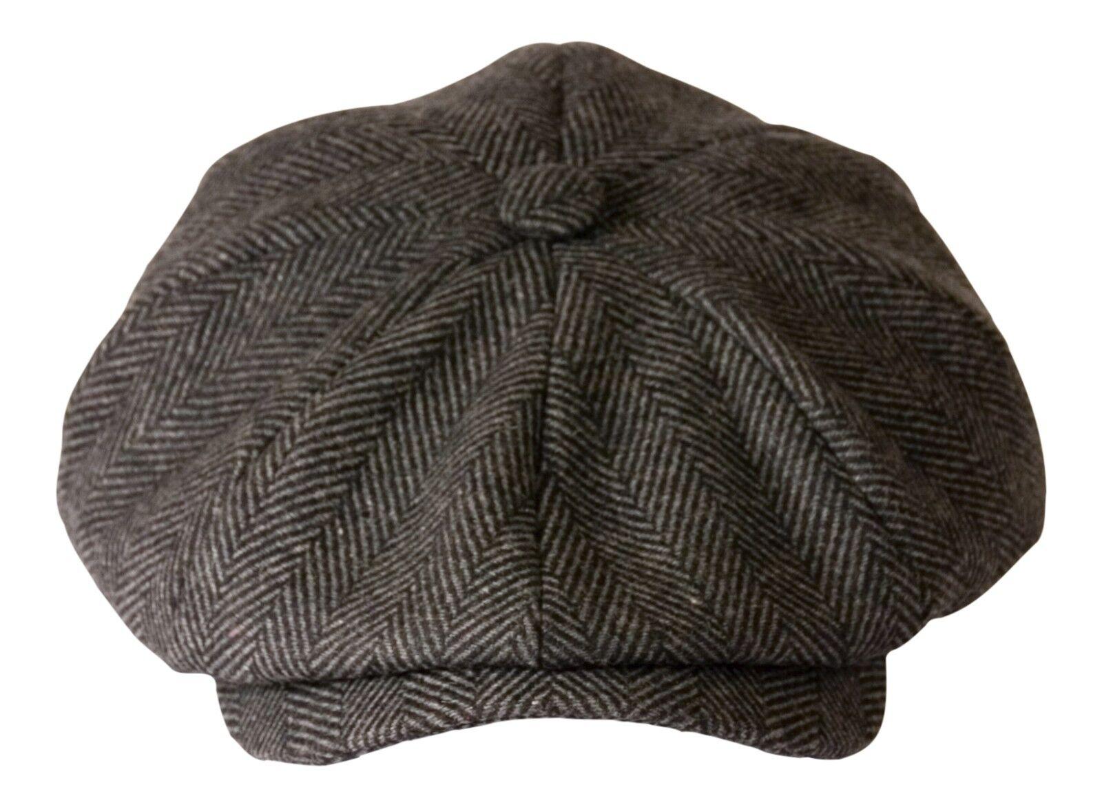 88976eec0cf2b  shelby  Grey Herringbone Wool Newsboy Button Top Flat Cap by Gamble   Gunn  XXXL 65cm for sale online