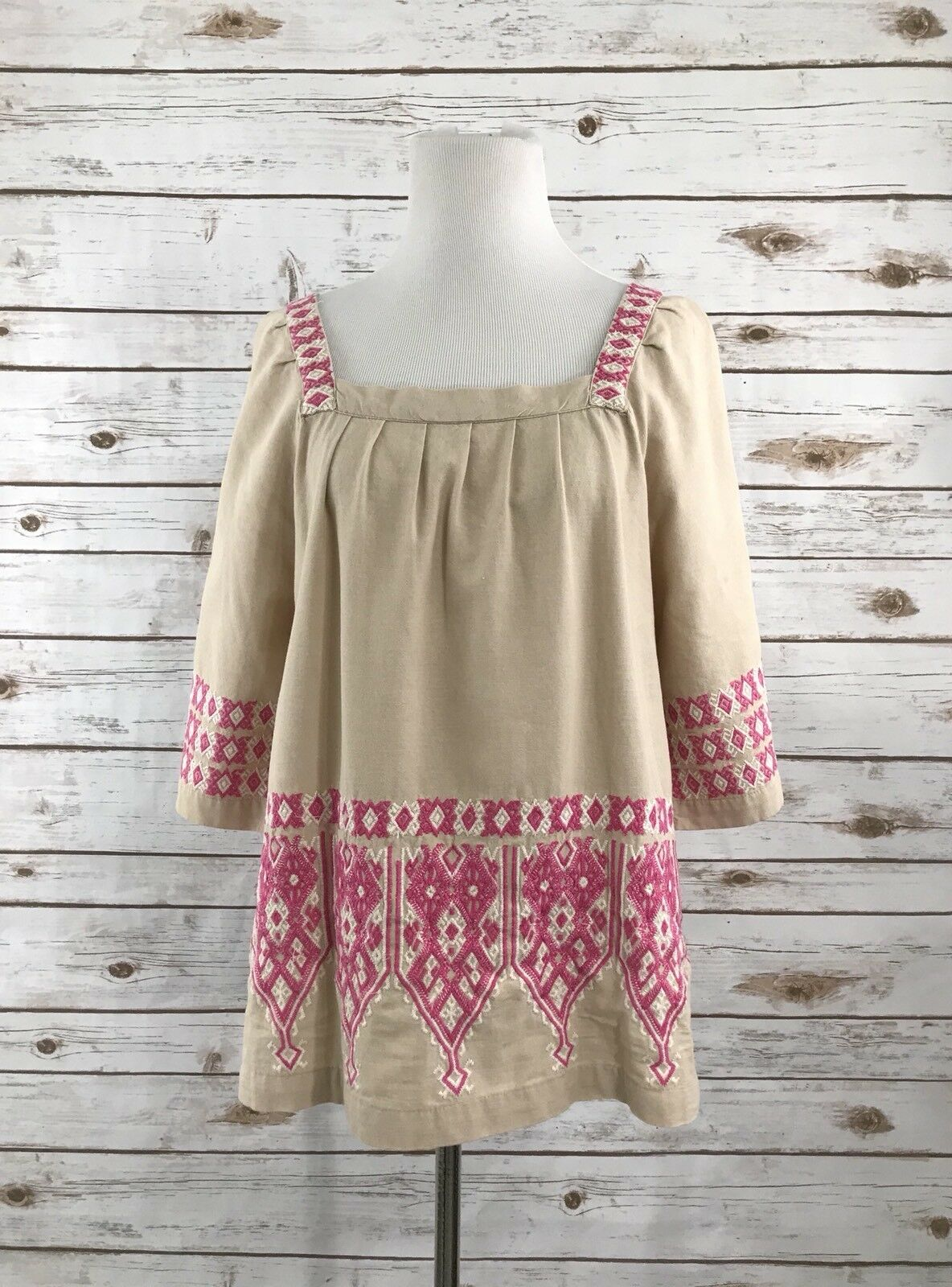 Calypso St Barth M Top Embroiderot Boho Blouse Shirt Cover Tan Rosa